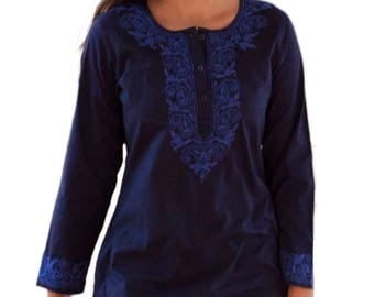 ADITI Hand Embroidered Tunic Top Kurti