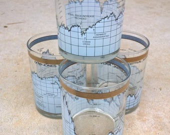 Complete set of 4 Vintage Mid Century Modern style rock/double old fashion glasses