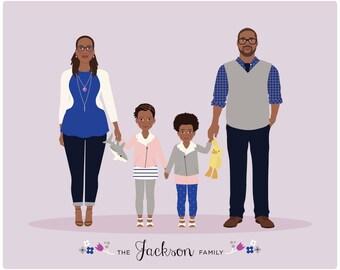 Custom family illustration, add on person