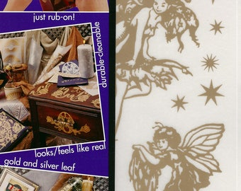 New Chartpak Rub-On Art Gold, Sealed Package Fairies & Stars, and Butterflies Color Scenes 2 Packs