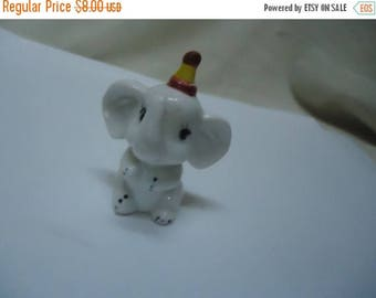 Back Open Sale Vintage White Elephant With Dunce Hat On Figurine, collectable