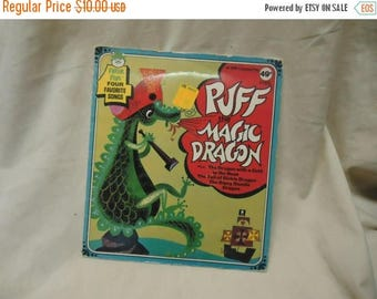 Back Open Sale Vintage Puff The Magic Dragon Childrens Record by Peter Pan 45 Rpm, collectable. extended play