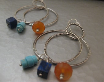 Double Hoop Sterling Silver Earrings Carnelian Lapis and Turquoise
