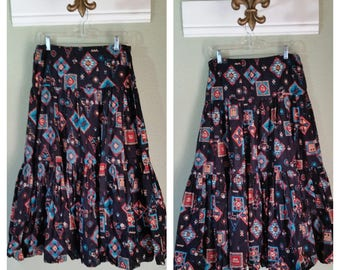 Tiered Skirt with Aztec Print by Spanish Skirts, Medium to Large