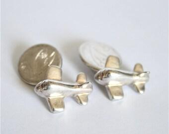 Vintage silver aeroplane cufflinks. Airplane cufflinks.  Vintage mens accessories