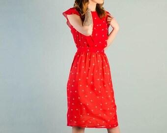 40% OFF SALE - Vintage 1980's Sheer Strawberry Dress