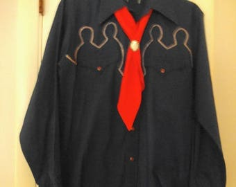Vintage Navy and Red Western Shirt with Tie and Cherry Bolero ~ Woman's Medium ~ Rock-a-Billy COOL