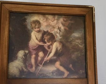 Vintage Art Mural with Mirror Children with the Lamb