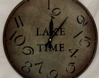 12 Inch LAKE TIME CLOCK in Mixed Shades of Gray Jumbled Numbers