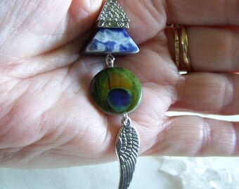 Blue Sodalite Gemstone Pyramid Winged Eye Pendant