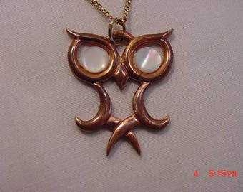 Vintage Copper Gems By Coppercraft Guild Owl Necklace  17 - 768