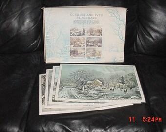4 Vintage 1972 Currier & Ives Plastic Place Mats In Original Box   17 - 971