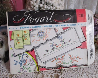 Vintage Vogart Transfer Patterns-Pillowcases-249-Embroidery