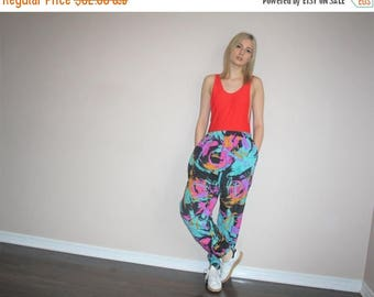 On SALE 45% Off - Vintage 90s Fresh Prince Graphic Abstract Hip Hop Track Pants - Vintage 1990s Neon Track Pants - W00400