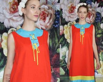 60s Vintage Mod Minimalist Nautical Colorblock Cotton Orange Yellow Blue Summer Dress  - 60s Clothing - WV0398
