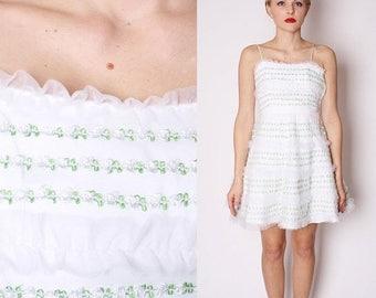 On SALE 35% Off - Vintage Designer Vintage Betsey Johnson  Short White Rosette Alternative Wedding Dress / Short White Wedding Dress / Betse