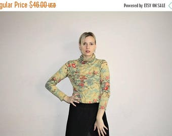 On SALE 40% Off - 90s Basic Cherry blossom Asian 1990s Vintage Cashmere Floral Boho Turtleneck Sweater - 90s Cashemere Sweaters - 90s Clothi