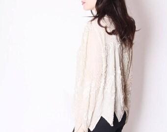 FLASH SALE - White Sequin Top /  Sequin Tops / Sequin Blouse / Vintage Sequins / Sparkly Vintage / Gatsby  / 2296