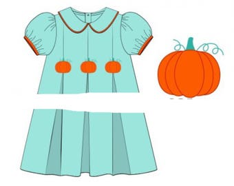 Thanksgiving Smocked Dress, Fall Dress, Pumpkin Smock, Autumn, Thanksgiving Dress, Thanksgiving Dress, Holiday Smocked Dress, Matching Set