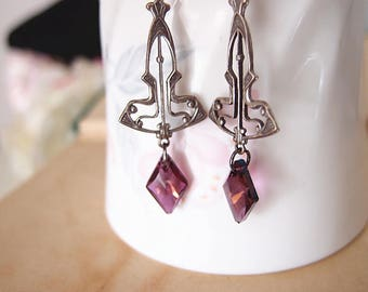 Art deco Swarovski amethyst crystal vintage aged silver brass earrings