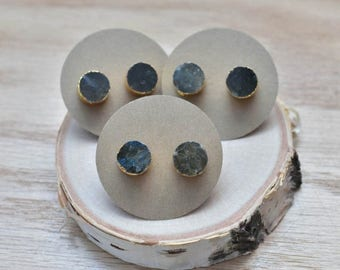 20% EARRING STUD SALE Gold Round Labradorite Stud Earrings/ Gold Stud Post Earrings Natural Labradorite / Natural Gemstone Blue Green Flash