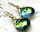 ON SALE Swarovski Briolette Crystal Earrings in Sahara and Gold- Greens and Golds - Swarovski Crystal and 14K Gold Vermeil Earwires
