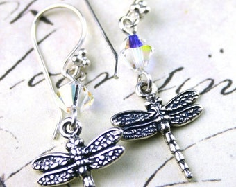 ON SALE Dragonflies and Crystal Earrings - Handmade with Swarovski Crystal and Sterling Silver