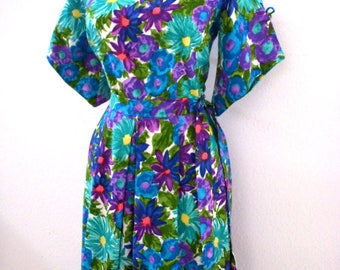 Vintage 60s Hawaiian Maxi Dress with Palazzo Pant - Blue Floral Tropical Hawaii Dress with Bell Sleeves & Metal Zipper - Small to Medium