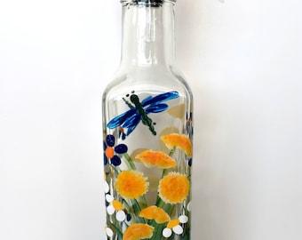 Hand Painted Wild Flowers Pour Bottle Oil Vinegar Bottle Soap Bottle Dragonflies Blue Yellow Orange White Green Gift Housewarming