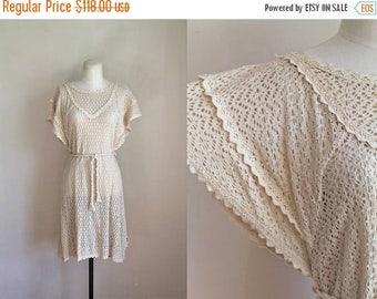 20% off SALE vintage 1970s crochet dress - GUNNIES gunne sax boho dress / S-M