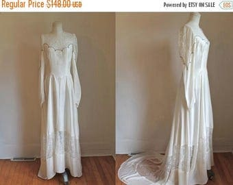 AWAY SALE 20% off vintage 1940s wedding dress - WEDDING Bell ivory silk beaded wedding gown / M