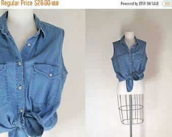 AWAY SALE 20% off vintage 1990s denim shirt - AT Last blue denim & cotton blouse / M-L