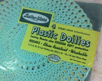 20% SALE Vintage 1950s 1960s Lustro-ware Plastic Doilies Sealed Pack of 4 Aqua and Yellow Serving Home Decor