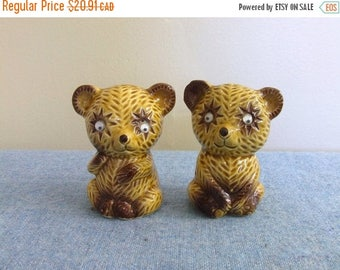 CLEARANCE Vintage Bears Googly Eyes - Salt and Pepper Shakers Japan Ceramic Woodland Forest Critters