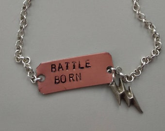 Battle Born - The Killers / Brandon Flowers - Handstamped Alluminium Necklace with charm with a little bolt