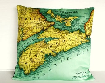 SALE SALE SALE Vintage Map pillow cushion Nova Scotia / organic cotton /pillow cover 16x16