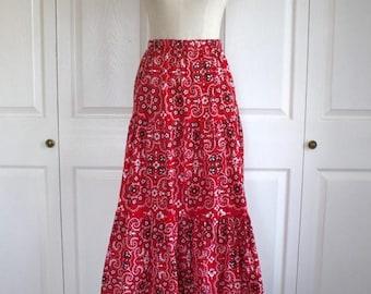 50% OFF SALE 1970s Red Tiered Skirt . Vintage 70s Boho Hippie Bohemian Skirt . Dutch Calico Print Long AVON Maxi Skirt . Sz Medium