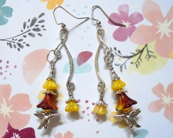 Yellow, Red and Silver Hummingbird and Flower Earrings (3697)