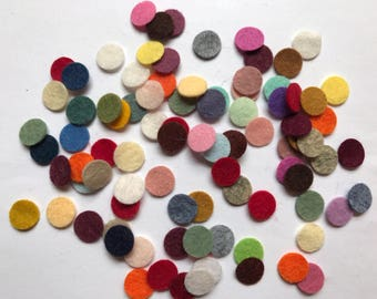 Wool Felt Circles Die Cut 100 - .5 inch Random Colored 4113 - DIY Felt - Merino Felt - Arts and Crafts - Hair Clip Supply - Die Cut Felt