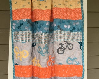 Bicycle Baby Boy Quilted Blanket
