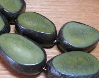 Four Forest Green Tagua Nut Beads, 12mm Thick Slice Beads, Organic Beads, Natural Beads, Vegetable Ivory Beads, EcoBeads