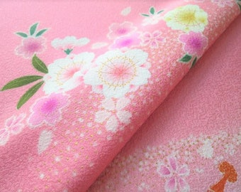 Japanese pure silk from Kyoto Pink Cherry brossoms pattern No.50-11