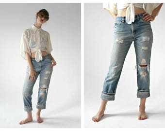Vtg. LEE Distressed Jeans- 32 x 39, Ripped Trashed Denim, 70s 80s High Waist Pants