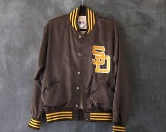 15% Off Out of Town Sale 80s 90s Starter Baseball Jacket Brown Satin San Diego Varsity Bomber Souvenir Jacket Size M