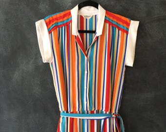 80s Silk Dress Rainbow Strip Midi Cinch Belted High Waist Cap Sleeve Dress Ladies M/L
