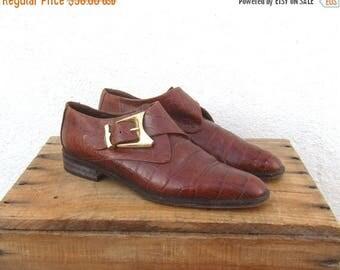 20% Off Sale Chelsea Ankle Boots Via Spiga Cognac Embossed Crocodile Italian Leather Ladies Size 6.5