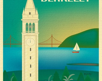 Berkeley Print, UC Berkeley Poster, Berkeley Wall Art, University of California Berkeley California Art - style E8-O-BERK