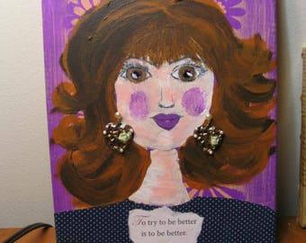 Painting/Woman/Original Painting/Mixed Media Painting/Folk Art/Folk Art Painting/Gift