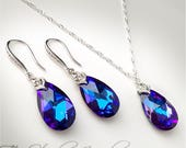 Peacock Blue Teardrop Crystal Bridal or Bridesmaid Neckace and Earrings - Available in Several Colors - MEGAN