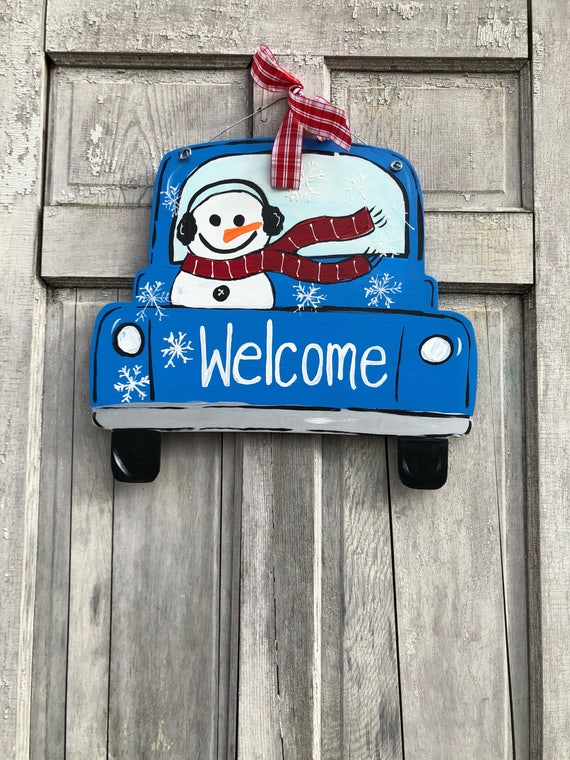 Winter, snowman,  door hanger,  blue truck door hanger, new door hanger, vintage truck door hanger, snowman door hanger, welcome winter